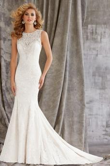 Vestido de novia primavera Natural Cola Capilla Corte Sirena Cristal