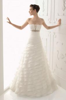 Vestido de novia Fuera de casa Apliques Sin tirantes Organza primavera