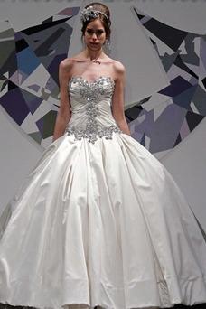 Vestido de novia Colores Otoño Iglesia Escote Corazón Satén Cola Capilla