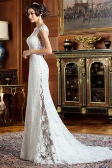 Vestido de novia Clasicos Sala Otoño Manga tapada Escote en V Botón