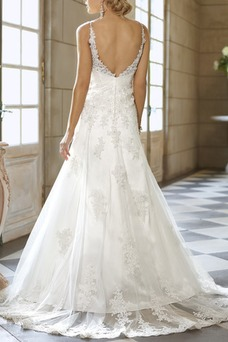 Vestido de novia Sala Corte Sirena Otoño Sin mangas Cola Capilla Apliques