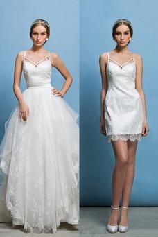 Vestido de novia Corte Recto Espalda Descubierta Glamouroso Escote de Tirantes Espaguetis