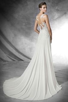Vestido de novia Con velo Moderno Apliques Natural Corte Recto Gasa