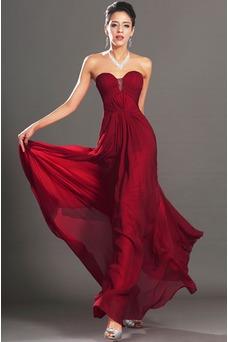Vestido de noche Rojo Oscuro Sin tirantes Para Imperio Natural Cremallera