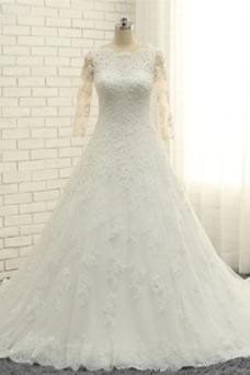 Vestido de novia Abalorio Corpiño Acentuado con Perla Pura espalda Natural