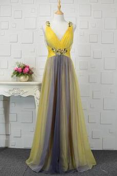 Vestido de noche Espalda Descubierta Abalorio Escote en V Natural Corte-A
