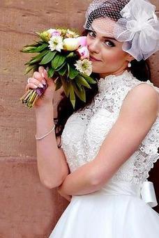 Vestido de novia Glamouroso Falta Corte-A Oscilación Escote con cuello Alto