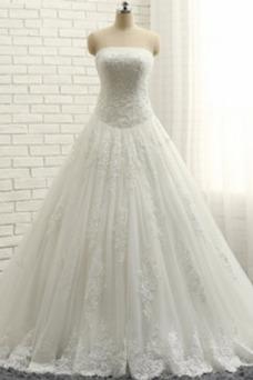 Vestido de novia Elegante Espalda Descubierta Cola Corte Abalorio Capa de encaje
