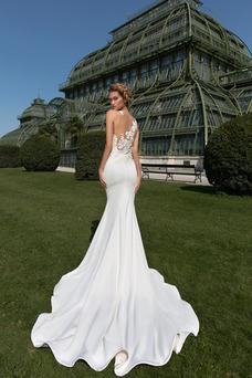 Vestido de novia Sala Corte Sirena Cola Corte Satén Elástico Pura espalda