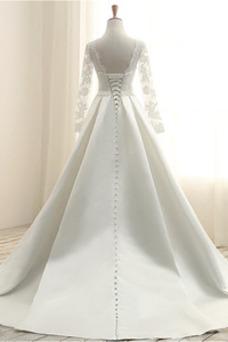 Vestido de novia Elegante Satén Natural Joya Otoño Mangas Illusion