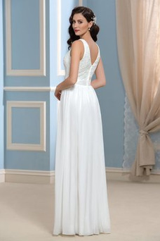 Vestido de novia Volantes Adorno Otoño Elegante Corte-A Capa de encaje