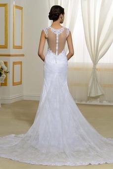 Vestido de novia Natural Elegante Corte Sirena Escote en V Drapeado