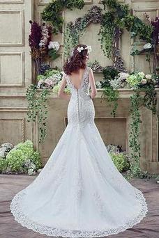 Vestido de novia Triángulo Invertido Natural Fuera de casa Barco Espalda Descubierta