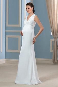 Vestido de novia Tallas grandes Sin mangas Playa Drapeado Imperio Blusa plisada