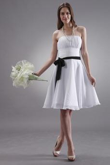 Vestido de dama de honor Sin tirantes Satén Elástico Hasta la Rodilla Natural