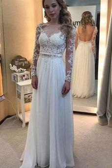 Vestido de novia Moderno Hasta el suelo Pera Barco Encaje Arco Acentuado