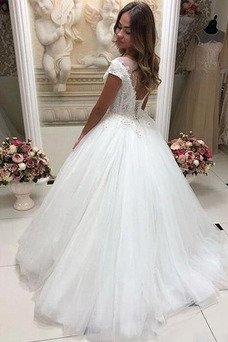 Vestido de novia Invierno Barco Natural Pura espalda Manga corta Sala