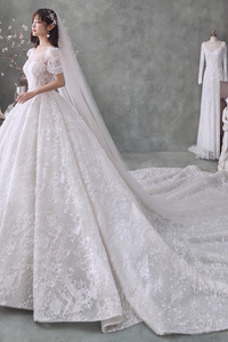 Vestido de novia Invierno Natural Camiseta Corpiño Acentuado con Perla
