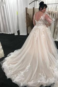 Vestido de novia Manga larga Sala primavera Baja escote en V Barco Abalorio