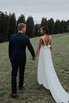 Vestido de novia Gasa Capa de encaje Arco Acentuado Espalda Descubierta