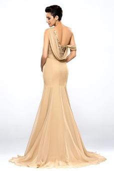 Vestido de noche Corte-A Falta Plisado Sin mangas Natural Escote Asimètrico