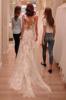 Vestido de novia Encaje Corte-A Natural primavera Pura espalda Pera
