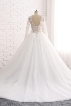 Vestido de novia Manga larga Natural largo Apliques Capa de encaje Triángulo Invertido