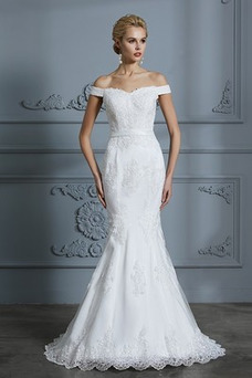 Vestido de novia Corte Sirena Manga corta Otoño Botón Delgado Fuera de casa