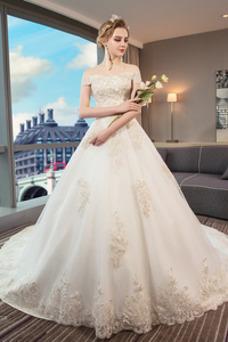 Vestido de novia Natural Manga corta Escote con Hombros caídos Iglesia