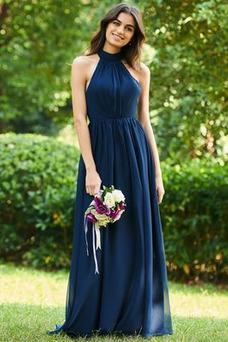 Vestido de dama de honor Elegante Falta Corte-A Natural Arco Acentuado Plisado
