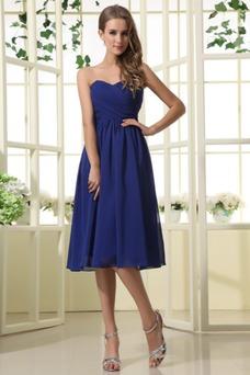 Vestido de Elegante oscuro de honor A plisada azul Rodilla dama Blusa Hasta Corte la TqSrTfx