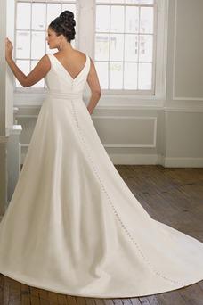Vestido de novia Corte princesa Espalda medio descubierto Blusa plisada