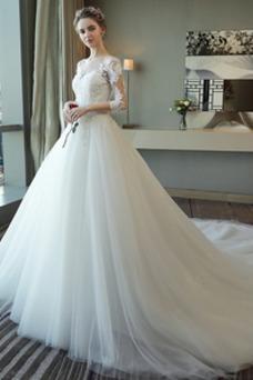 Vestido de novia Manga de longitud 3/4 Corte-A Mangas Illusion Satén