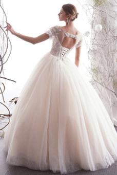 Vestido de novia Natural Corpiño Acentuado con Perla Manga corta Hasta el suelo