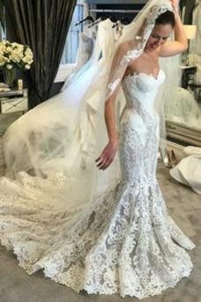 Vestido de novia Corte Sirena Escote Corazón Verano Moderno Apliques