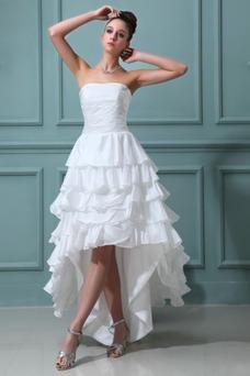 Vestido de novia Alto Bajo Cascada de volantes Fuera de casa Moderno