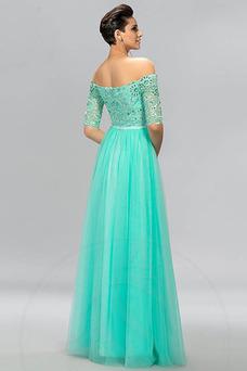 Vestido de noche Capa de encaje Elegante Natural Abalorio Escote con Hombros caídos