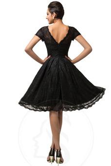 Vestido de cóctel Elegante Capa de encaje Manga corta Hasta la Rodilla
