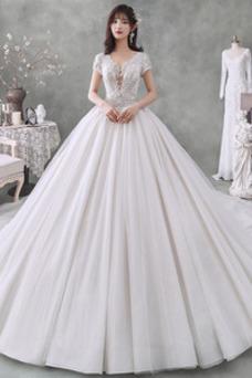 Vestido de novia Cordón Baja escote en V Triángulo Invertido Natural