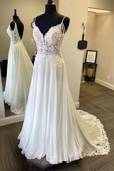 Vestido de novia Pera Baja escote en V Moderno Natural Cola Barriba