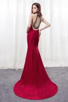 Vestido de noche Escote con cuello Alto Corte Sirena Elegante Pura espalda