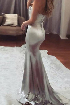 Vestido de noche Elegante Satén Elástico Sin mangas Natural Corte Sirena