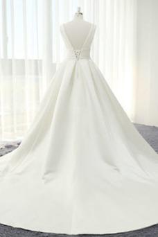 Vestido de novia Blusa plisada Corte-A Sin mangas Natural Espalda Descubierta