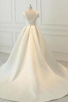 Vestido de novia Cola Catedral Cordón Elegante Manga corta Fuera de casa