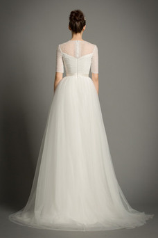 Vestido de novia Drapeado Natural primavera Corte-A Joya Cremallera