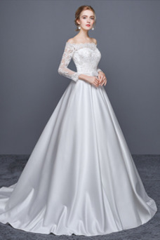 Vestido de novia Escote con Hombros caídos Cremallera Corte-A Iglesia