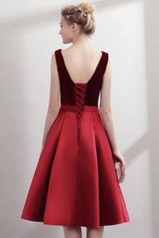 Vestido de fiesta Moderno Drapeado Satén Natural Hasta la Rodilla Escote en V