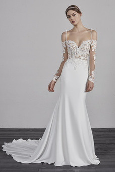 Vestido de novia Sencillo Encaje Espalda Descubierta Capa de encaje