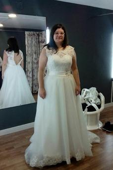 Vestido de novia Cremallera Hasta el suelo Natural Barco Abalorio Capa de encaje
