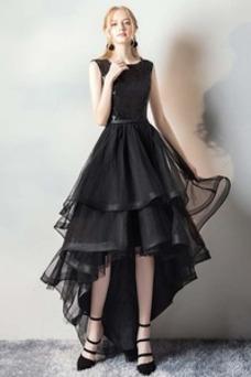 Vestido de fiesta Elegante Asimètrico Cremallera Otoño Organza Sin mangas
